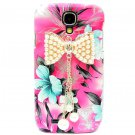 Bling Crystal Pearl Bow Flower Pink Hard Case Cover For Samsung i9500 Galaxy S4 BP