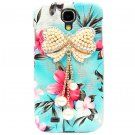 Bling Crystal Pearl Bow Flower Blue Hard Case Cover For Samsung i9500 Galaxy S4 BW