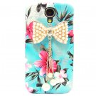 Bling Crystal Pearl Bow Flower Blue Hard Case Cover For Samsung i9500 Galaxy S4 BP
