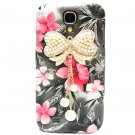 Bling Crystal Pearl Bow Pink Flower Black Hard Case Cover For Samsung i9500 Galaxy S4 BW