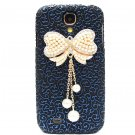 Bling Crystal Pearl Bow Palace Blue Black Flower Hard Case Cover For Samsung i9500 Galaxy S4 BW