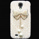 Bling Crystal Pearl Bow Palace Gold White Flower Hard Case Cover For Samsung i9500 Galaxy S4 BW