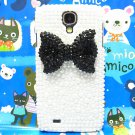 Bling Crystal Black Bow Pearl White Hard Case Cover For Samsung i9500 Galaxy S4 A1