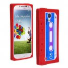 Cassette Tape Pattern Silicone Soft Skin Case Cover for Samsung i9500 Galaxy S4 Red