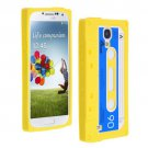 Cassette Tape Pattern Silicone Soft Skin Case Cover for Samsung i9500 Galaxy S4 Yellow