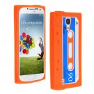 Cassette Tape Pattern Silicone Soft Skin Case Cover for Samsung i9500 Galaxy S4 Orange