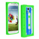 Cassette Tape Pattern Silicone Soft Skin Case Cover for Samsung i9500 Galaxy S4 Green