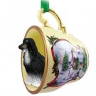 Afghan Black & White Snowman Holiday Tea Cup Ornament