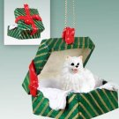 American Eskimo Miniature Green Gift Box Ornament
