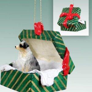 Australian Shepherd Blue, Docked Green Gift Box Ornament