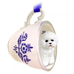 Bichon Frise Blue Tea Cup Ornament