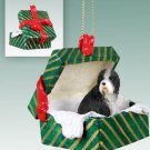 Bearded Collie Green Gift Box Ornament