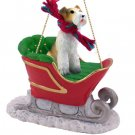 Wire Haired Fox Terrier Sleigh Ride Ornament