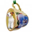 Wire Haired Fox Terrier Sleigh Ride Holiday Tea Cup Ornament