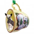 Chinese Crested Dog Snowman Holiday Tea Cup Ornament