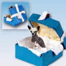 Chinese Crested Dog Blue Gift Box Ornament