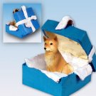 Finnish Spitz Blue Gift Box Ornament