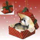 Dandie Dinmont Red Gift Box Ornament