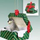 Irish Wolfhound Green Gift Box Ornament