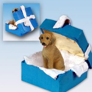 Rhodesian Ridgeback  Blue Gift Box Ornament