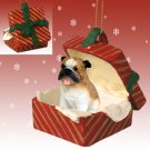 Bulldog Red Gift Box Ornament