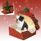 Bulldog, Brindle Red Gift Box Ornament