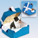Bulldog, Brindle Blue Gift Box Ornament