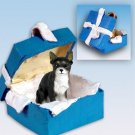Chihuahua, Black & White Blue Gift Box Ornament