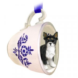 Chihuahua, Black & White Blue Tea Cup Ornament
