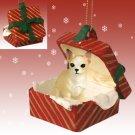 Chihuahua, Tan & White Red Gift Box Ornament