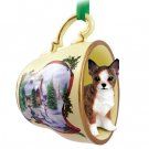 Chihuahua, Brindle & White Snowman Holiday Tea Cup Ornament