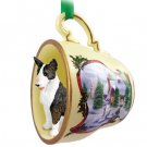 Bull Terrier, Brindle Snowman Holiday Tea Cup Ornament