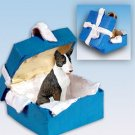 Bull Terrier, Brindle Blue Gift Box Ornament
