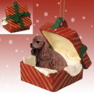 Cocker Spaniel, Brown Red Gift Box Ornament