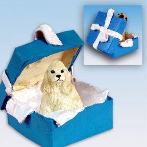 Cocker Spaniel, Blonde Blue Gift Box Ornament