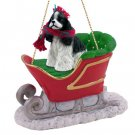 Cocker Spaniel, Black & White Sleigh Ride Ornament