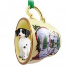 Brittany, Liver & White Snowman Holiday Tea Cup Ornament