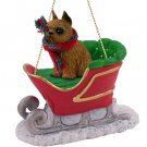 Brussels Griffon, Red Sleigh Ride Ornament