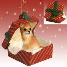 Chihuahua, Long Haired, Red Gift Box Ornament