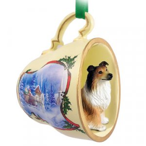 Collie, Sable Sleigh Ride Holiday Tea Cup Ornament