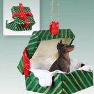 Doberman, Red Green Gift Box Ornament