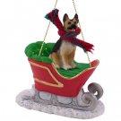 German Shepherd, Tan & Black Sleigh Ride Ornament