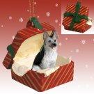 German Shepherd, Silver & Black Red Gift Box Ornament