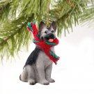 German Shepherd, Silver & Black Christmas Ornament