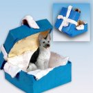 German Shepherd, Silver & Black Blue Gift Box Ornament