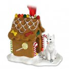 German Shepherd, White Ginger Bread House