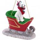 German Shepherd, White Sleigh Ride Ornament