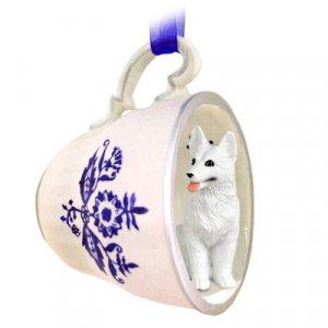 German Shepherd, White Blue Tea Cup Ornament
