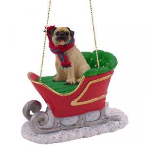 Pug, Fawn Sleigh Ride Ornament
