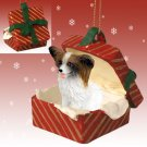 Papillon, Brown & White Red Gift Box Ornament